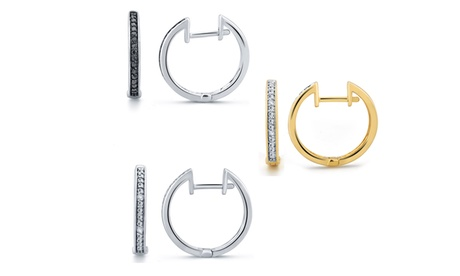 1/10 CTTW Black- and White-Diamond Hoop-Earring Set in 14K Gold Plating by Brilliant Diamond