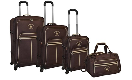 groupon daily deal - Beverly Hills Polo Club Pale Rider 4-Piece Luggage Collection. Free Returns.