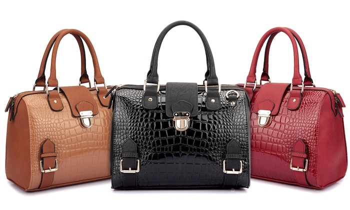 Dasein Luxury Patent Barrel Satchel Handbag