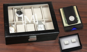 Monogram Online: Personalized Metal Cufflinks, Black Leather Money Clip, Watch Case, or All Three from Monogram Online (Up to 71% Off)