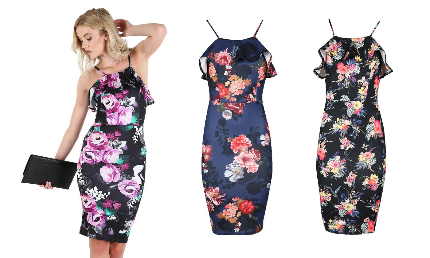 Oops Women's Floral Midi Bodycon Dress
