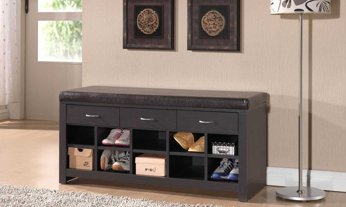 Entryway Bench with Shoe-Storage Compartments ... & Up To 53% Off on Entryway Bench | Groupon Goods