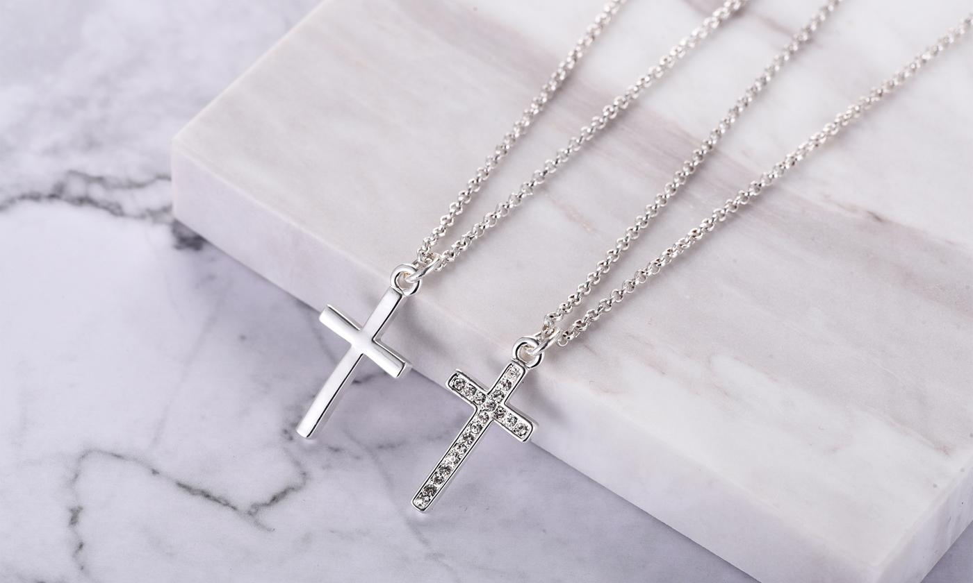 One or Two Philip Jones Cross Necklaces - Plain, Pave with Crystals from Swarovski® or Both