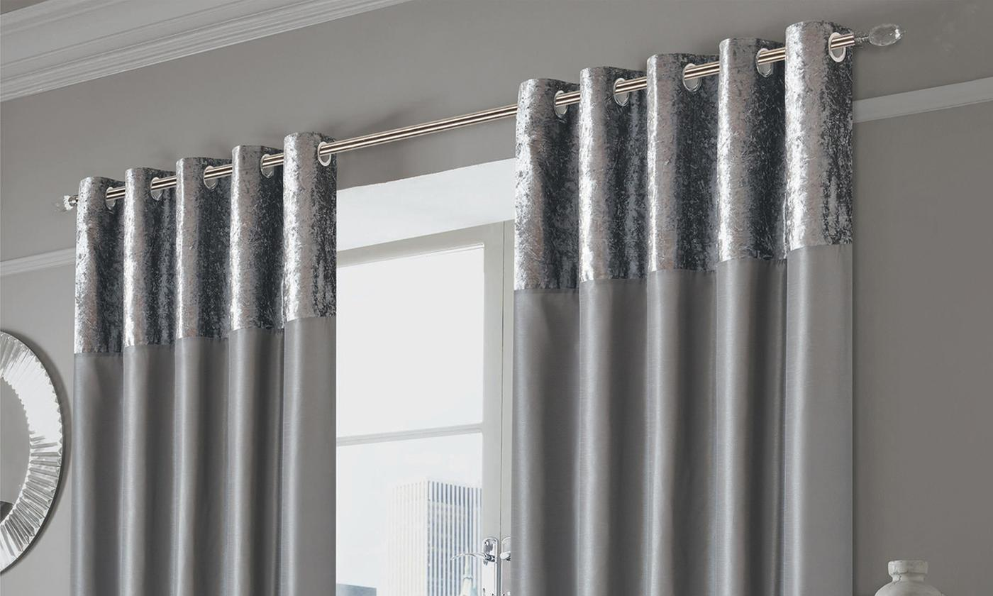 Silken Crushed Velvet Top Cuff Eyelet Curtains
