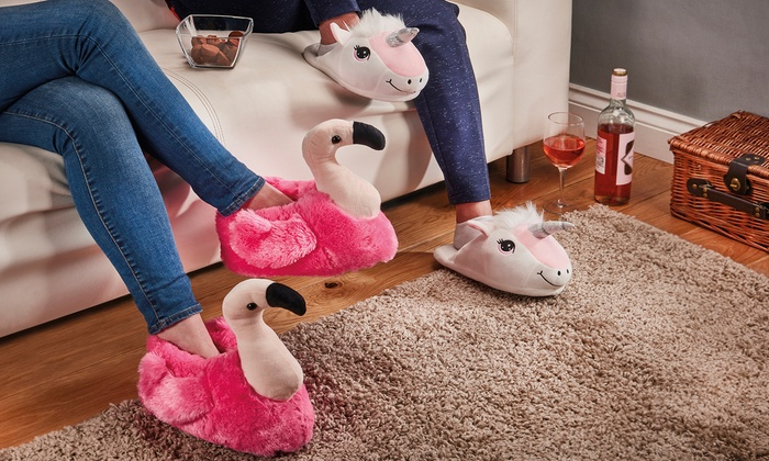 08219a0ac Flamingo and Unicorn Slippers   Groupon Goods