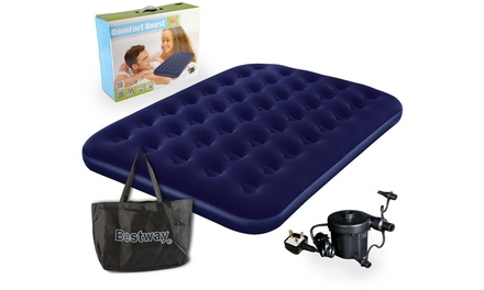 Bestway Double Flocked Airbed with Pump