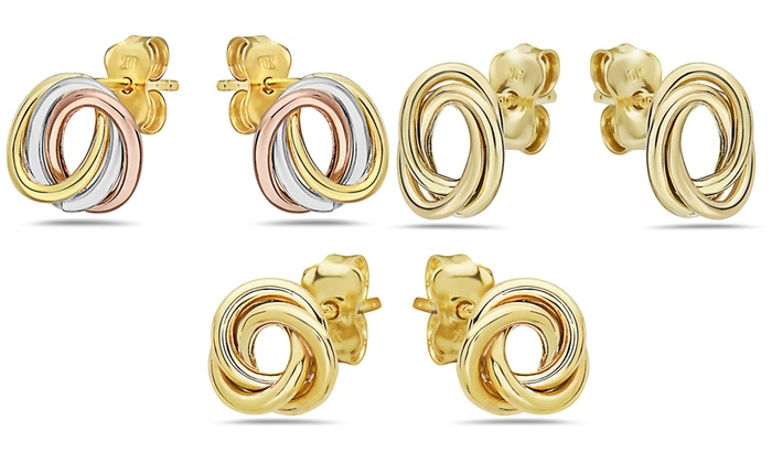 8f04d2ce5 Up To 84% Off on 10K Gold Love Knot Earrings | Groupon Goods