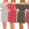 Women's Striped or Solid Off-the-Shoulder Dress