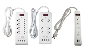 4-, 6-, or 8-Outlet Power Block Surge Protector with USB Ports