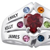 Custom Engraved Birthstone Family Name Ring in Sterling Silver