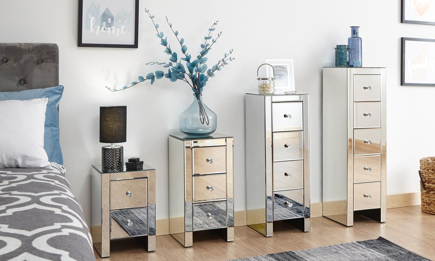 Sophia Mirrored Bedside Chest for £69.98