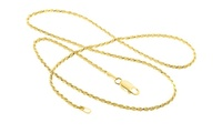 Italian Made Solid Sterling Silver Rope Chains in 18K Yellow Gold Plating by Verona