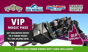 Village Roadshow Theme Parks: $139 for Unlimited Entry to Warner Bros. Movie World, Sea World, Wet'n'Wild Gold Coast + Paradise Country