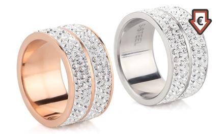 VENTE FLASH 1 ou 2 bagues Elyna de la marque My Charms ornées de cristaux Swarovski