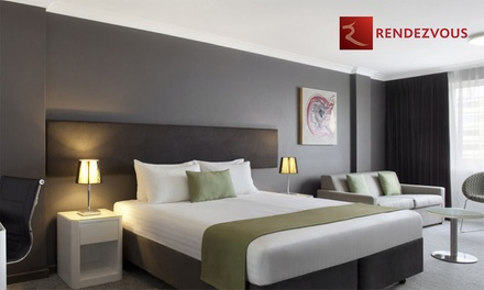 Perth, CBD: 1 or 2 Nights for Two with Breakfast, Wine, and Option for Premium Package at Rendezvous Hotel Perth Central
