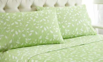 Luxury Home Printed Leaves Bed Sheet Set (4-Piece)