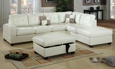 Bonded leather sectional sofa bayit furniture groupon for Sectional sofa groupon
