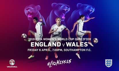 image for England Women v Wales Women, FIFA World Cup Qualifier on 6 April at St. Mary's Stadium, Southampton