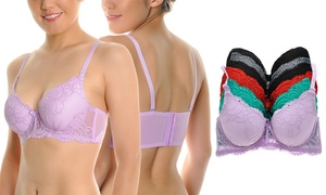 Angelina Wired Padded Wide-Wing Bra with Convertible Straps (6-Pack)