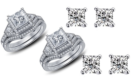 Ring orand Earrings with Zircons made from Swarovski Elements from AED 59 (Up to 91% Off) With Free Delivery