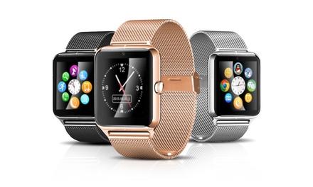Edelstahl-Smartwatch mit Kamera in Schwarz, Silber oder Gold inkl. Versand