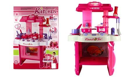 Deluxe children 39 s kitchen play set groupon for Kitchen set groupon
