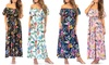 Women's Off-Shoulder Tropical Ruffled Maxi Dress