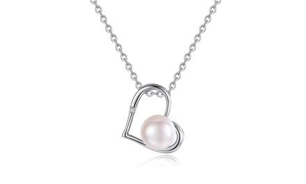 Halskettemit Herz-Anhänger, Perle und Diamant (Munchen)
