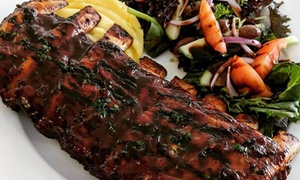 The Chefs Wife Bistro: T-Bone Steak + Full Rack of Ribs & Water for 2 ($49) or 4 People ($98) at The Chef's Wife Bistro (Up to $146 Value)