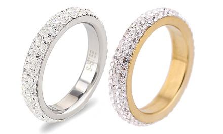 1 of 2 roestvrijstalen ringen met kristallen van Swarovski®, in kleur en maat naar keuze, vanaf € 8,99 tot korting