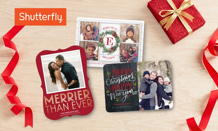 20 or 40 5x7 square trim flat cards from shutterfly - Shutterfly Holiday Cards