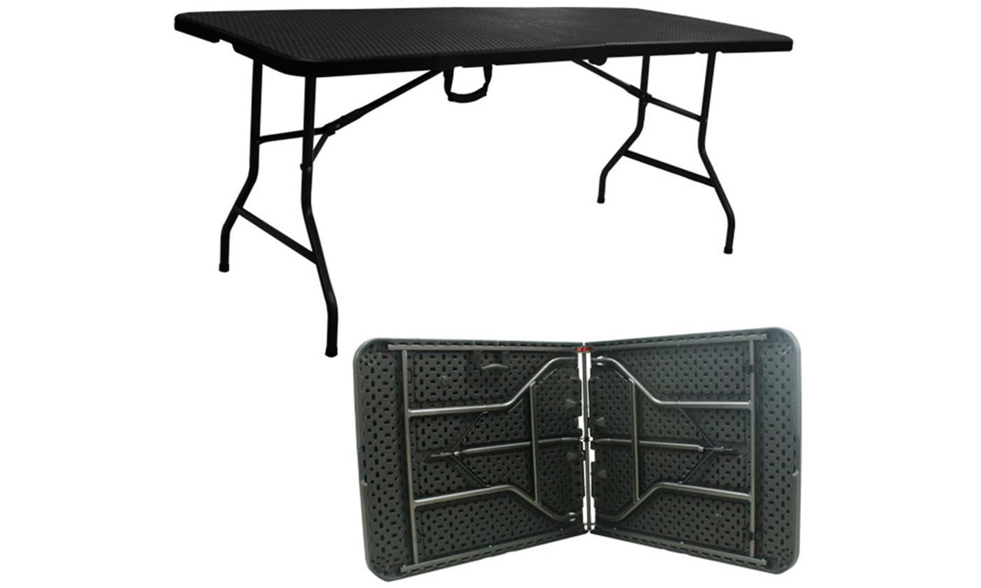 6ft Folding Rattan-Effect Table