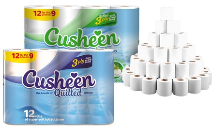 60 or 120 Rolls of Cusheen Quilted Luxury White or AppleScented Toilet Tissues