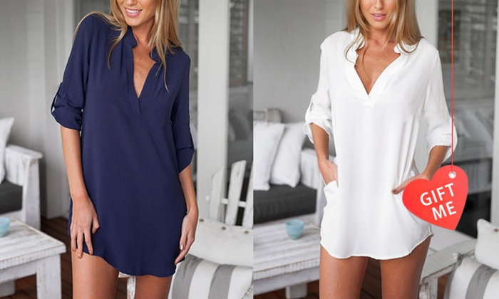 Sensual Sale: V-Neck Long Casual Blouse with Pockets: One ($16) or Two ($29)