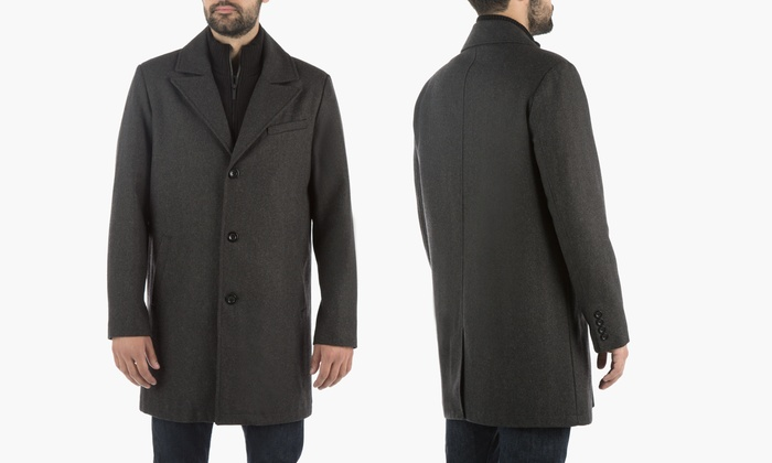 4fde02f643f5 Kenneth Cole New York Men's Wool Walker Coat with Bib (Size S) | Groupon
