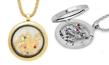 Magnetic Locket Pendant with Family-Themed Charms and Crystals Made with Swarovski Elements