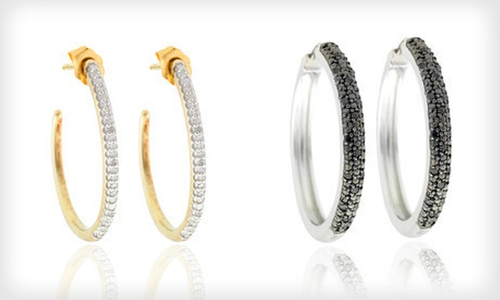 Diamond Hoop Earrings: Diamond Hoop Earrings (Up to 86% Off). Eight Options Available. Free Shipping and Free Returns.