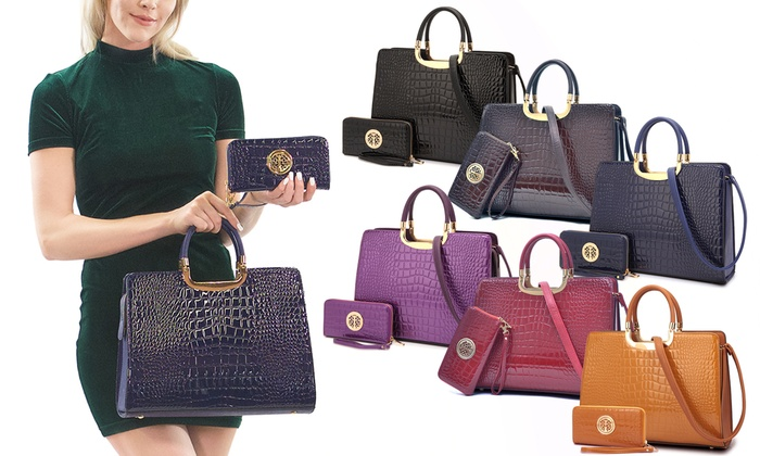 75d4629294b3cb MK Belted Collection Patent Croco Briefcase Handbag with Wallet