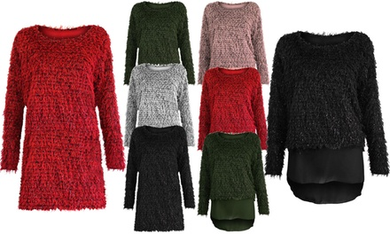MohairEffect Fluffy Lurex Knit Jumpers