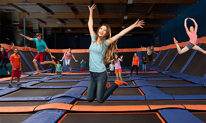 Sky Zone - Sky Zone - Albany: $16 for One Hour of Jump Time for Two With Two Pairs of Skysocks at Sky Zone ($32 Value)