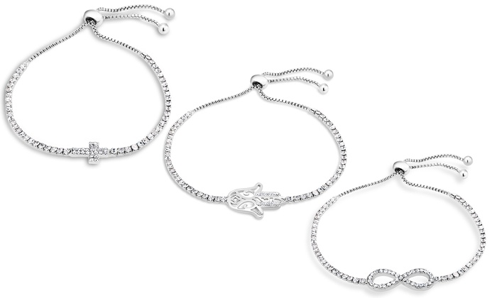 18k White Gold Plated Cubic Zirconia Tennis Charm Bracelet