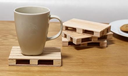 4, 8 o 12 posavasos de madera en forma de palet