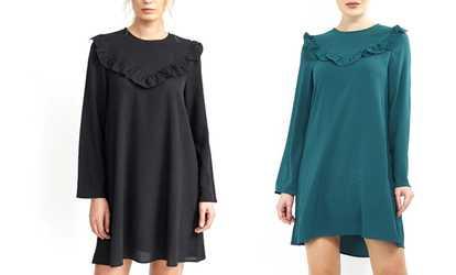 Bei Groupon shoppen Damen-Kleid mit Rüschen 66dd4f4251