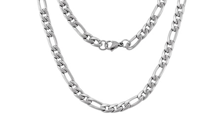 Italian-Made Figaro Chain Necklace in Solid Sterling Silver