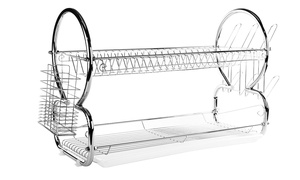 Stainless Steel and Two-Tier Bamboo Dish Racks