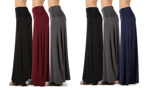Women's Relaxed-Fit Maxi Skirts With Foldable Waistband (3-Pack)