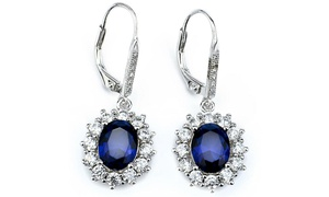 Halo Sapphire Leverback Earrings in 18K White Gold Plating