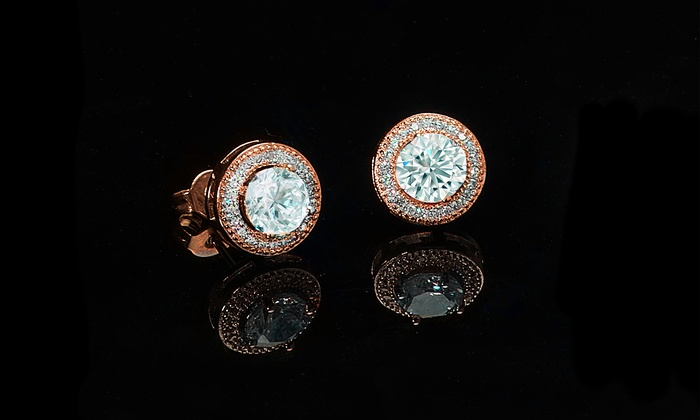 Round Cut Halo Stud Earrings Made With Swarovski Crystals