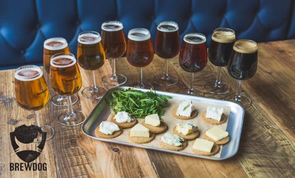 Craft Beer School: Tutored Tasting with Five Beers plus Cheese Platter for Two at BrewDog, Multiple Locations (50% Off)
