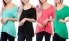 Women's Open Shoulder Deep V-Neck Top: Women's Open Shoulder Deep V-Neck Top